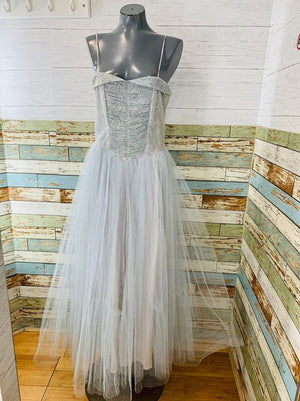 70s Strapless Prom Dress with tulle Full Skirt