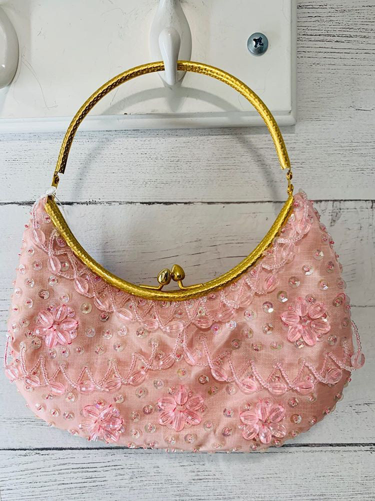 60s - Light Pink Beads & Sequin Snap Purse