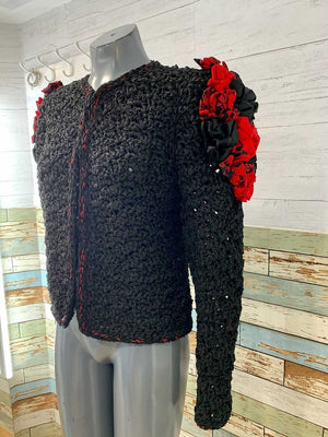 80s Crochet Long Sleeve Jacket With Shoulder Red Applications