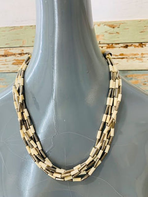 80s Multi layer Beads. Metal Necklace