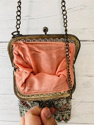 30s - Chained Hand Painted Clutch - Hamlets Vintage