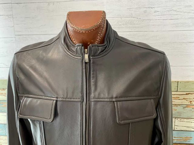 90s Leather zip Jacket By Clairbone