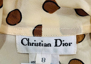 90s - Christian Dior Dot Blouse Shortsleeved - Hamlets Vintage