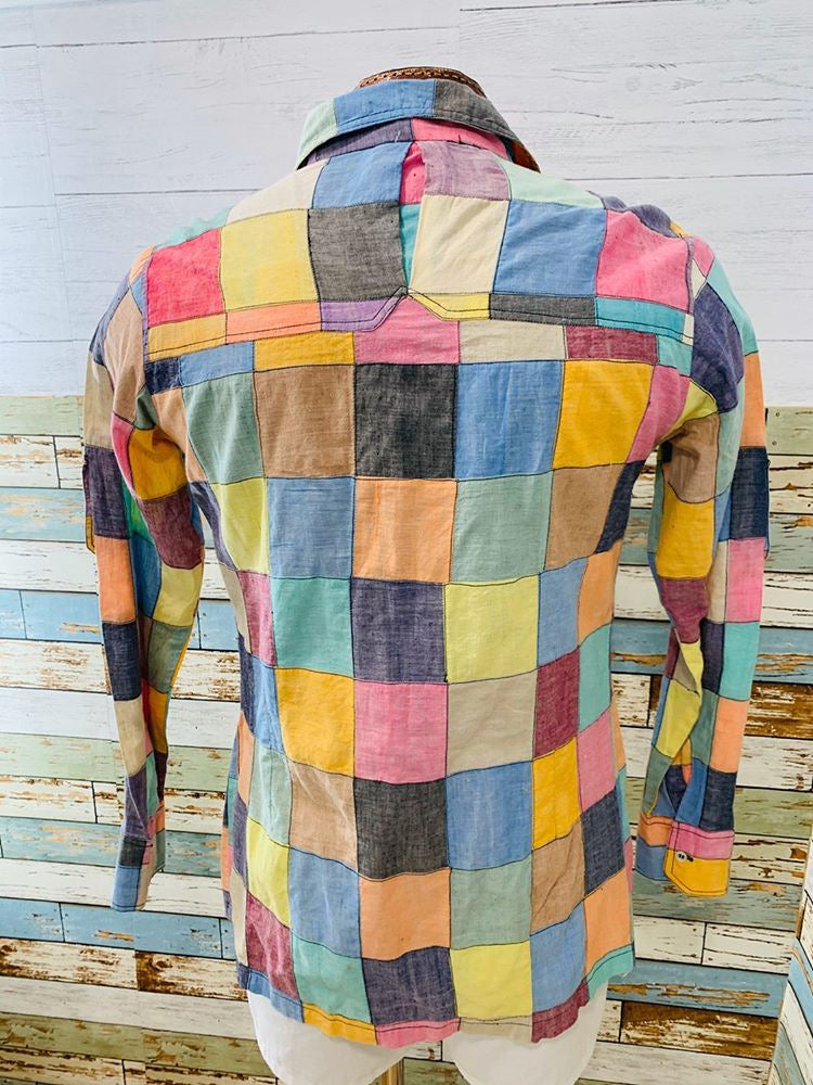 70s multicolor patch Square long sleeve Shirt - Hamlets Vintage