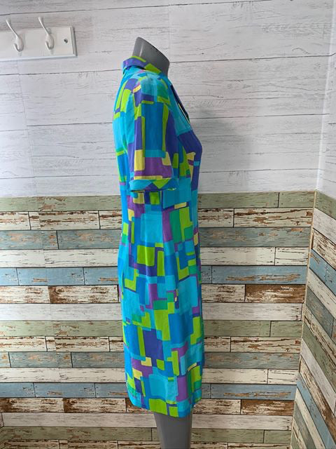 90s - Abstract Print Dress  By August Silk