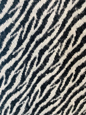 80s - Zebra Print Coat With leather By Prisma Collection