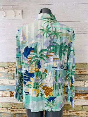 70's Long Sleeve - Tropical Vacation Print | Blouse - Hamlets Vintage