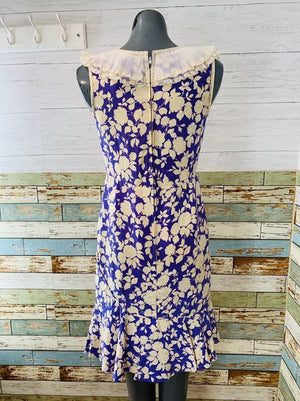 40s Sleeveless Flower Print Silk Dress With Lace Collar