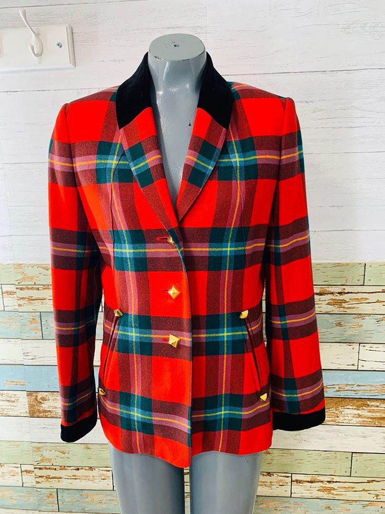 90s - Hermès Paris Red Plaid And Velvet Trimmed | Blazer - Hamlets Vintage