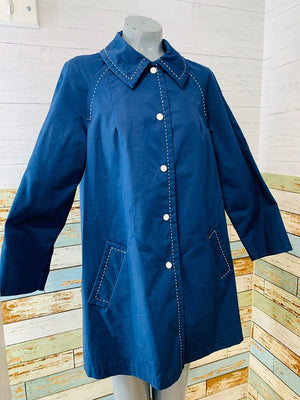 60s - Navy With Stitch A line Overcoat By Sharpee - Hamlets Vintage