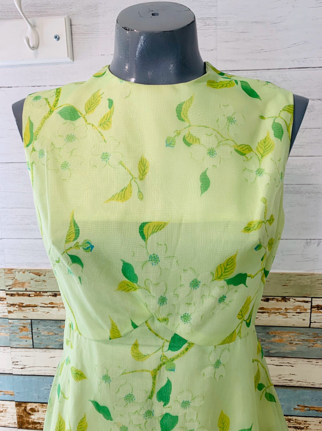 60's Sleevesless Empire Waist - Green Floral Print Dress - Hamlets Vintage