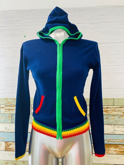 70s - Blue Zip Hoodie With Rainbow Trim - Hamlets Vintage