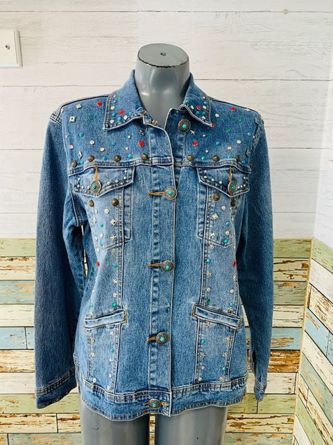 90s - Vintage Multicolor Stones Denim Jacket