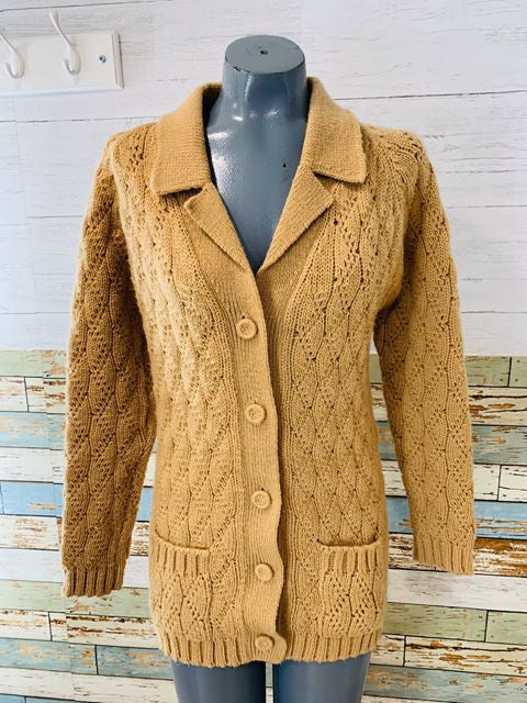 70s Light Brown Cardigan - Hamlets Vintage