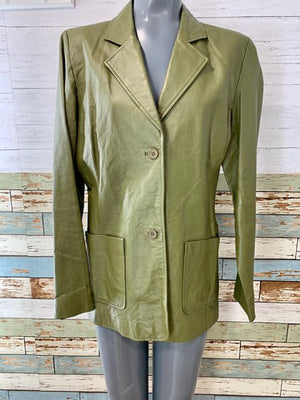 90s - Olive Leather Jacket - Hamlets Vintage