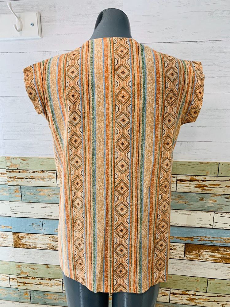 70s Native Print no sleeve Top - Hamlets Vintage