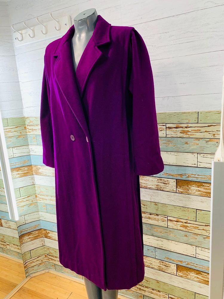 90s Double Breasted Wool Purple Long Coat  By Saxton Hall