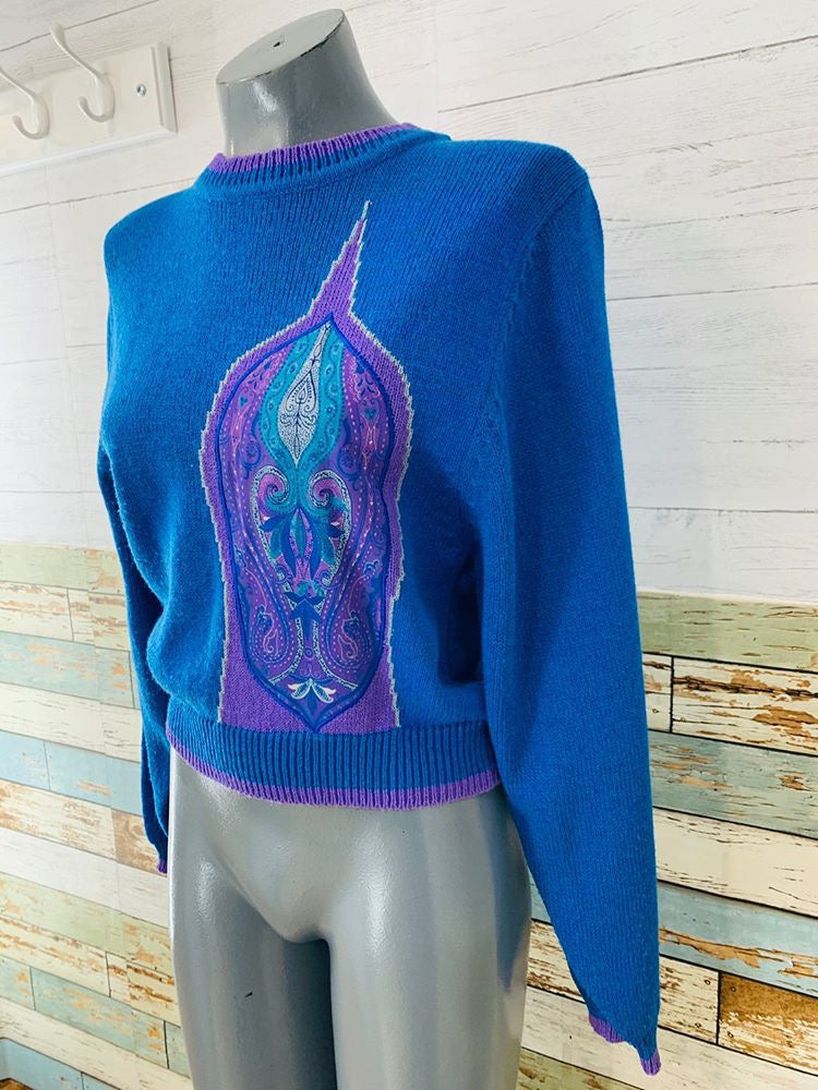 80s - Jaymee Papell Paisley Knit Sweater With Matching Scarf - Hamlets Vintage