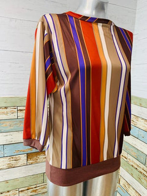 80s - By Jackie Scott Striped Elastic Waist Blouse - Hamlets Vintage