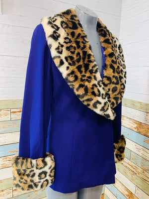 90s purple Blazer with Removable Collar & cuff Faux Leopard Print - Hamlets Vintage