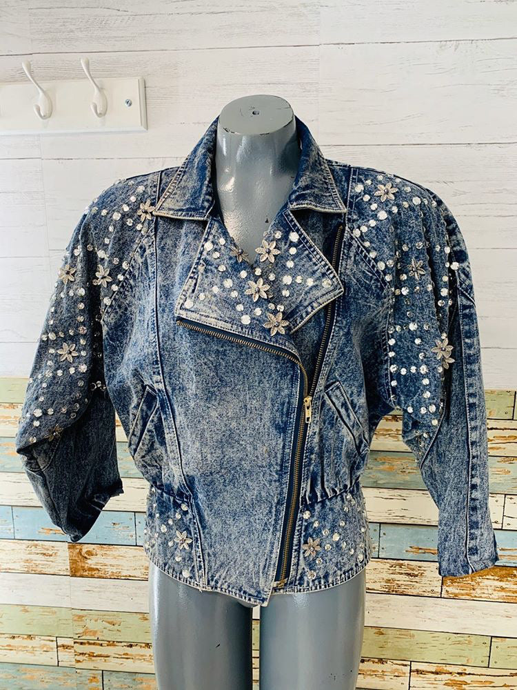 80s Acid Wash Rhinestone Studded Denim Jacket