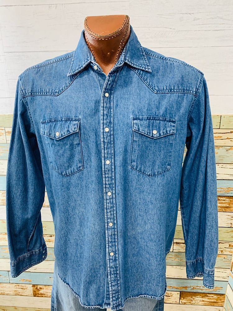 90s - Denim Long Sleeve Shirt - Hamlets Vintage