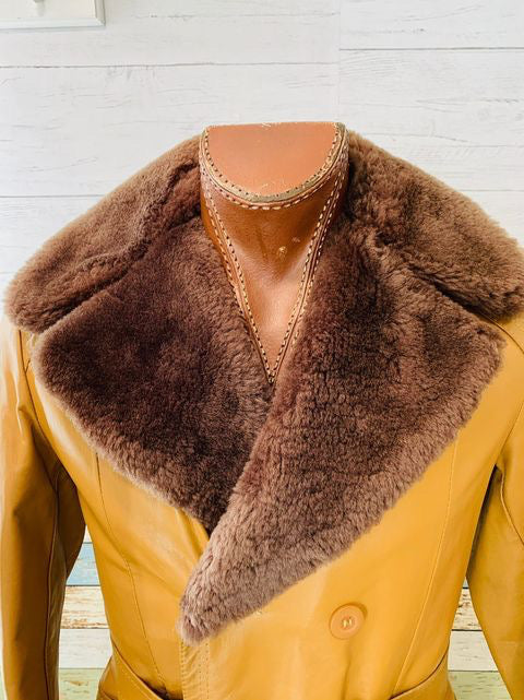 70s Double Breasted Leather Coat With Fur Collar By Alexander's