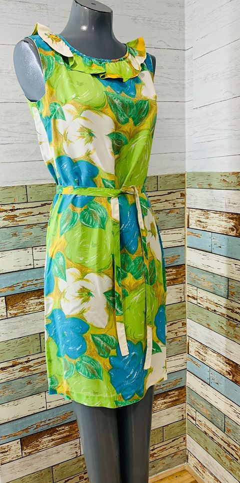 60s - Ruffle Collat No Sleeve Flower Print Dress - Hamlets Vintage