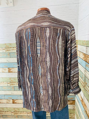 80s - Vintage Long Sleeve Silk print Shirt  By COOGI