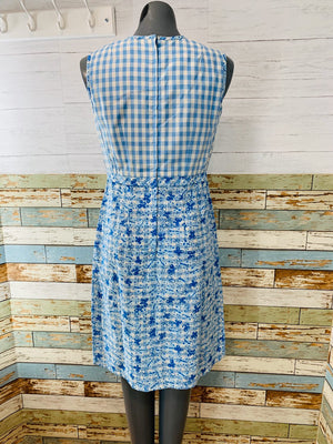 60's Baby Blue Gingham Butterfly Print Dress - Hamlets Vintage
