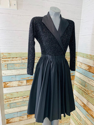 90s - By Halston Lurex Long Sleeve Wrap Full Skirt - Hamlets Vintage
