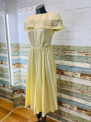70s - Pale Yellow Strap Details Dress - Hamlets Vintage