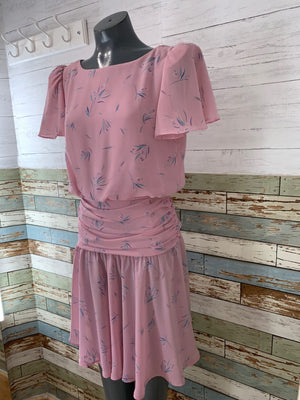 Short-sleeve Pink Print | Jody of California Dress 1980s ( 1940s Style ) - Hamlets Vintage