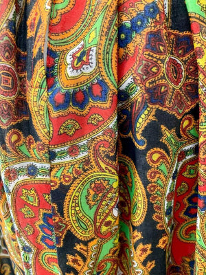 70s Maxi Long Sleeve Dress With  Paisley Combine Empire Waist