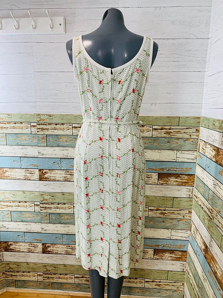 50s - Flower Embroiled Dress - Hamlets Vintage