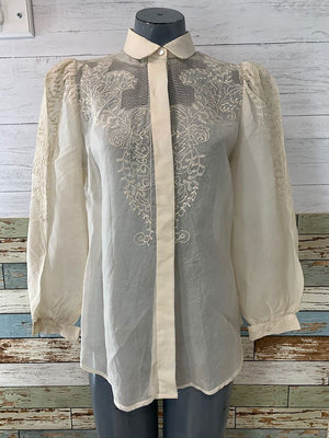 70s - Lace & Embroiled Long Sleeve Shirt