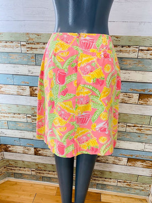 90s - Tropical Beach Bar By Lilly Pulitzer | Skirt - Hamlets Vintage