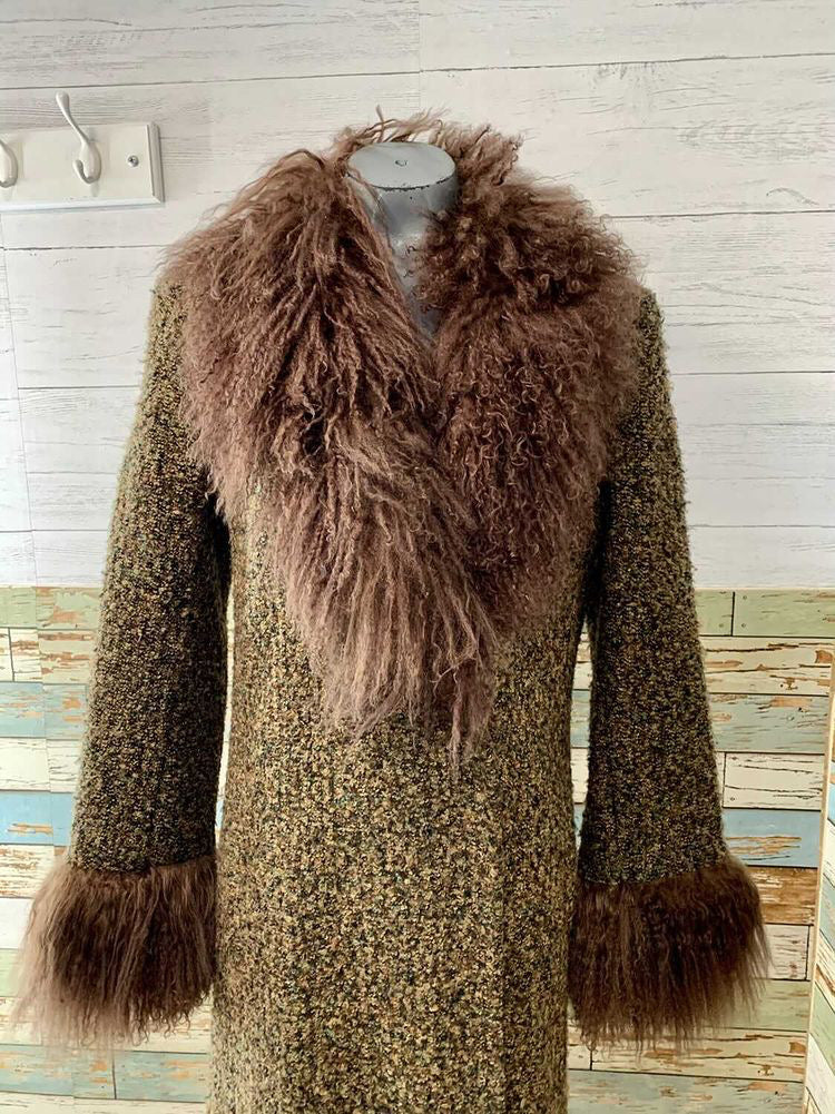 90s Long Wool Coat With Mongolian Lamb Collar and Cuffs By Madeline Of California