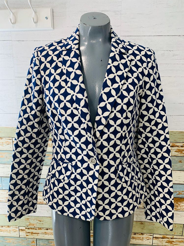 90s Navy/White Print Blazer By Jones New York - Hamlets Vintage