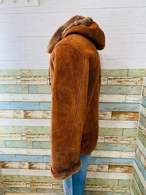 90s Zip Removible Hood Shearling Short Coat By Aston