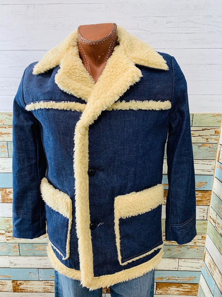 70s Denim Coat With Faux Sheepskin lining  By Vancort