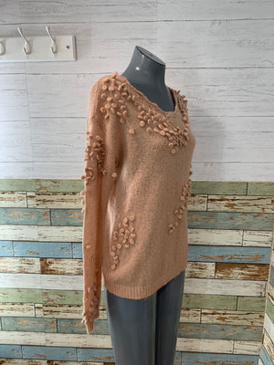 00s V Neck Salmon Mohair Sweater with pons Details  By Sundance