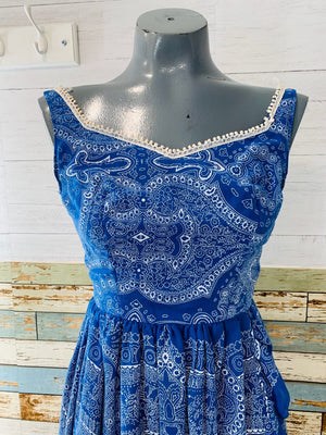 70's Off The Shoulder - Blue Paisley Print Dress - Hamlets Vintage
