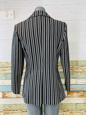 80's - Double Breasted black & White Blazer - Hamlets Vintage