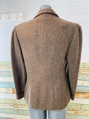 90s - Tweed Short Blazer With Trim Details  By Ralph Lauren