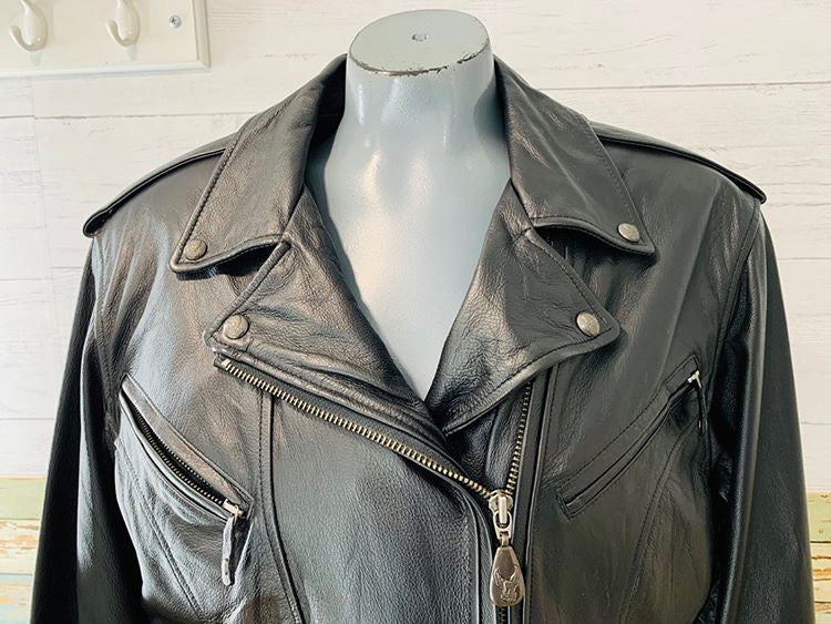90s - Biker Leather jacket With Removable lining  By Harley Davison