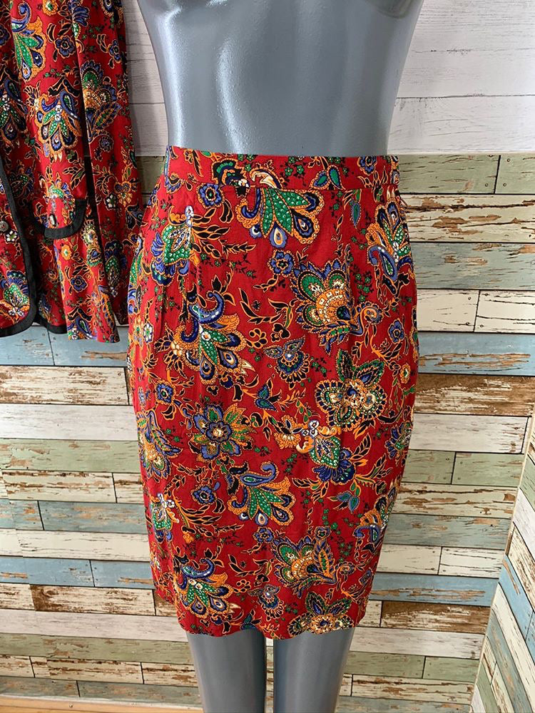 90s - 2 piece Skirt Set By Leslie Fay