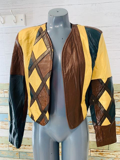 70s Harlequin leather Jacket - Hamlets Vintage