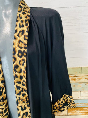 80s Open Front Jacket with Leopard print trim - Hamlets Vintage
