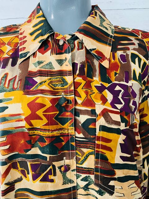90s - Multicolor Long Sleeve Silk Blouse